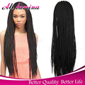 Glueless Synthetic Front Lace Kinky Twist Wig For Black Women Heat Resistant Braided Lace Front Wigs Micro Senegalese Twist Wig
