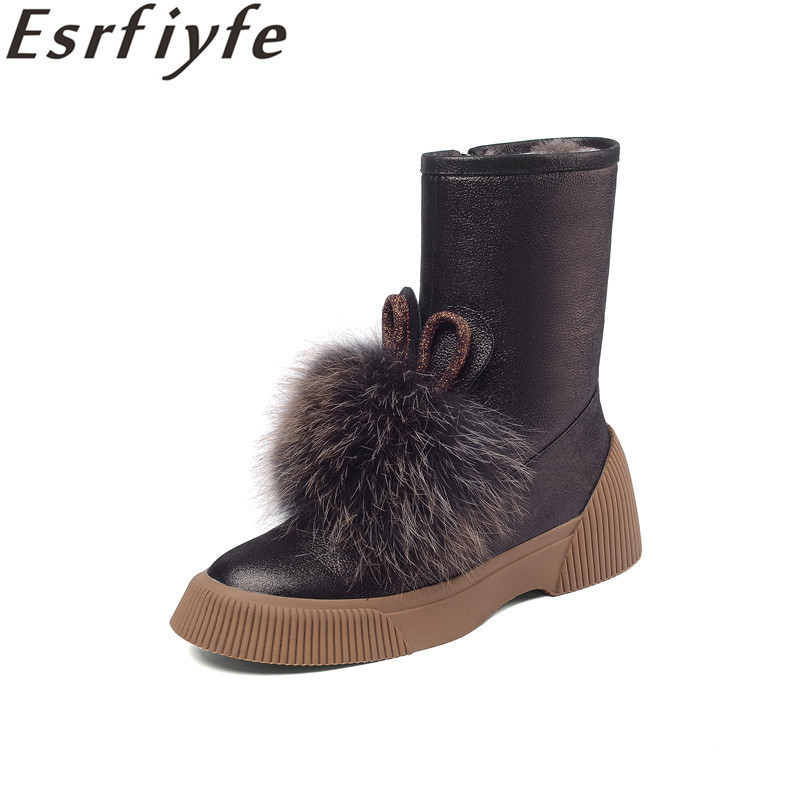 ESRFIYFE Brand Womens Shoes New Genuine Lrather Snow Boots Side Zipper Boots Womens Plus Velvet Warm Shearling Fur Snow ShoesESRFIYFE Brand Womens Shoes New Genuine Lrather Snow Boots Side Zipper Boots Womens Plus Velvet Warm Shearling Fur Snow Shoes