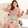 Mulheres conjuntos de pijama 2017 primavera e no outono sleepwear fêmea dos desenhos animados da longo-luva de algodão salão definir plus size XXXL