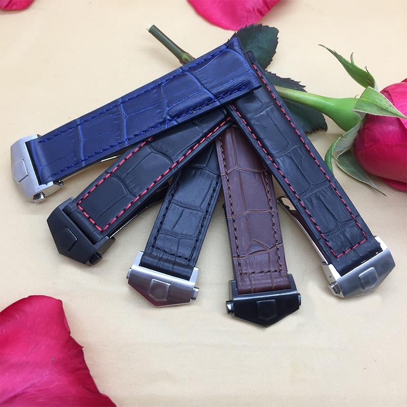 Neues Uhrenarmband aus echtem Leder der Ankunftsqualität 19mm 20mm 22mm schwarzbraunes blaues Uhrenarmband