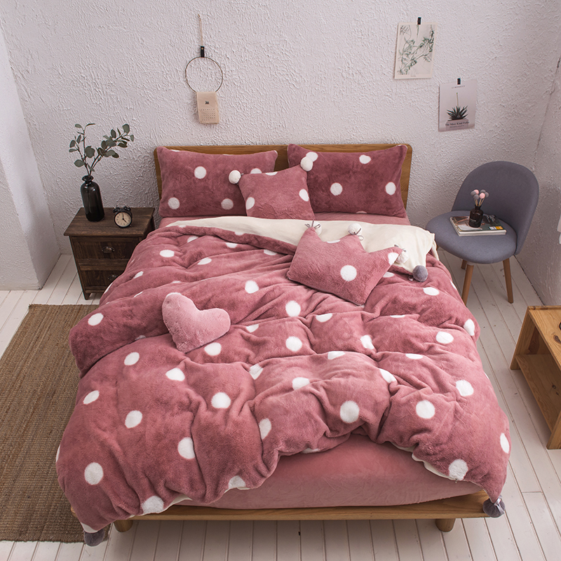 Pink White Gray Fleece Fabric Wave Point Printing Girl Bedding Set Soft Velvet Flannel Duvet Cover Bed Sheet/Linen Pillowcases