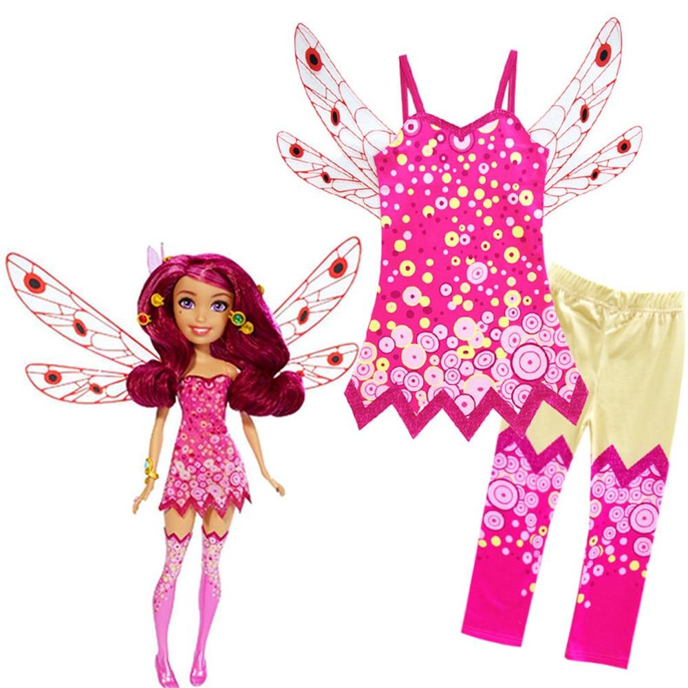 MIA Cosplay Costumes Vest Pants Wing-Top Elven Pink Kids Cartoon Suit Kingdom Party Girl