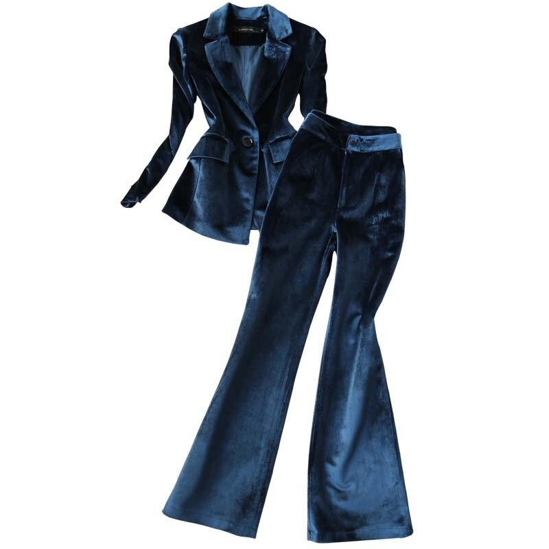 Gold samt anzug frauen büro dame professionelle blazer + breite bein hosen zwei sätze frühling herbst neue mode temperament - 2
