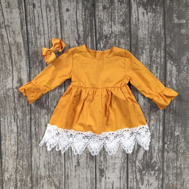679bccb2dfc7 baby girls fall children clothes cute solid color dress white lace ruffle  dress girls boutique mustard yellow dress match bow