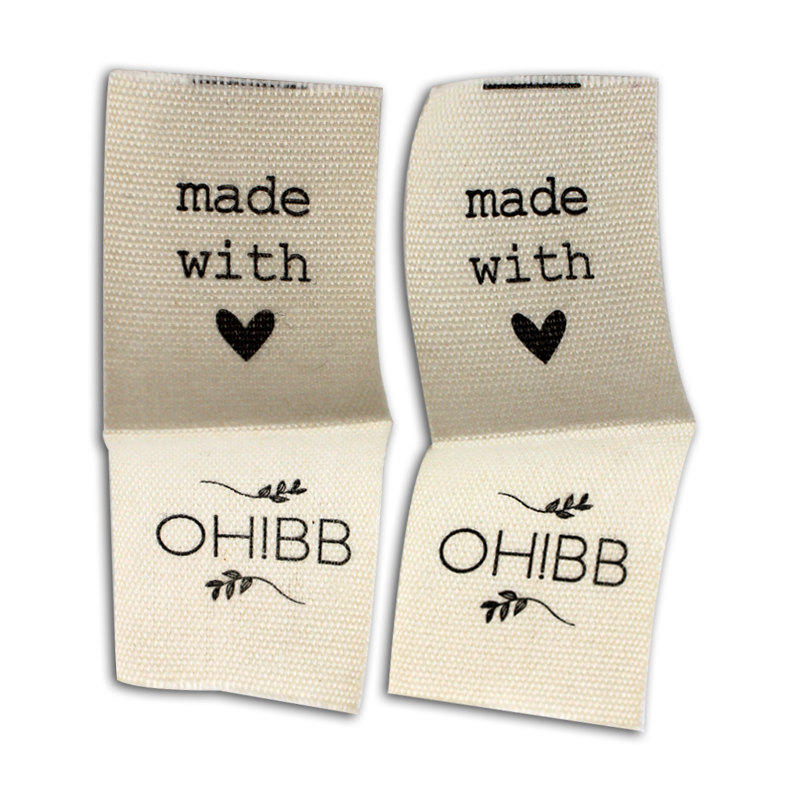 Free shipping customized clothing cotton printed labels collar labels cute cartoon pattern tag woven labels brand
