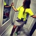 Плюс Размер Платья Лета 2016 Новое Прибытие Женской Одежды Конфеты Цвет Лоскутное О-Образным Вырезом С Коротким Рукавом Повседневные Платья Желтое Платье