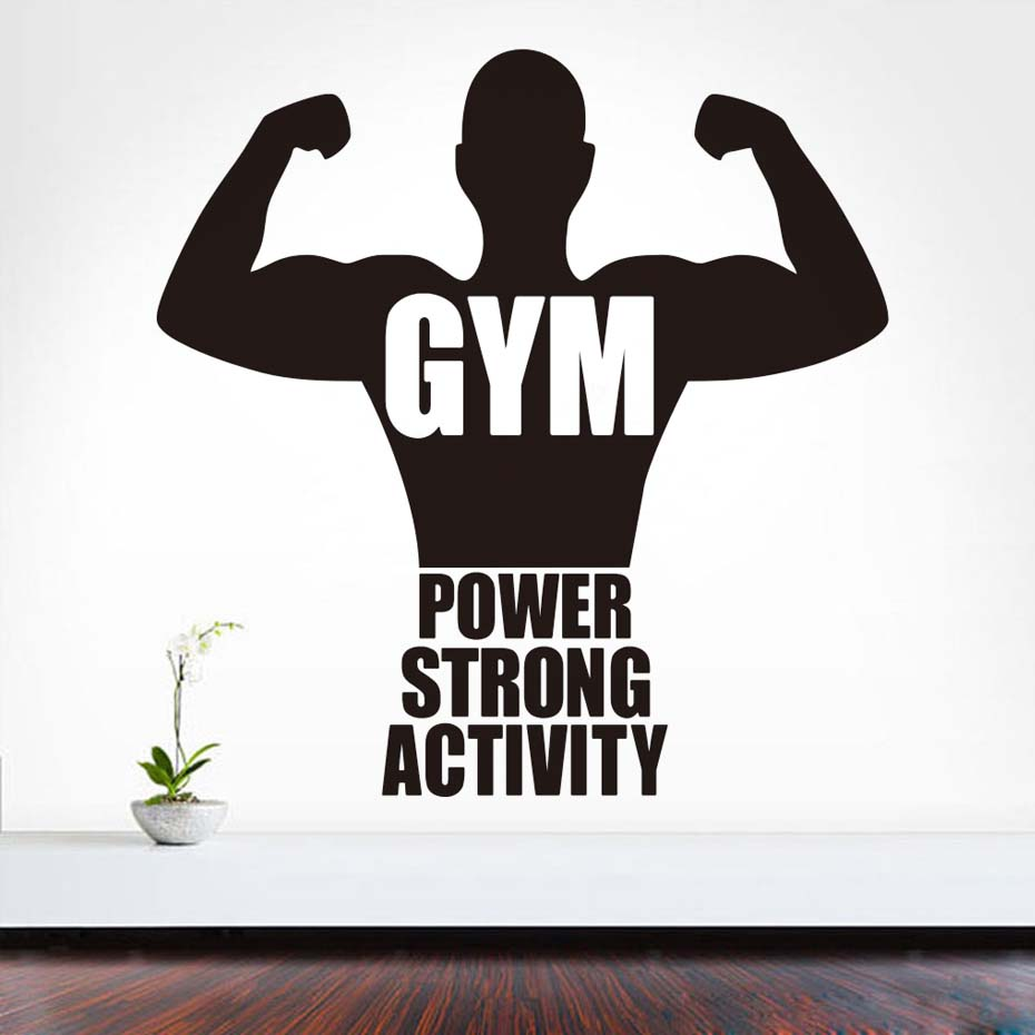 Sports Gym Art Vinyl Wall Stickers Fitness Power Strong Decals Home Decor For Bedrooms Adhesive Wallpaper