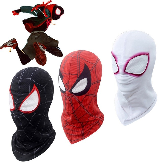 Spider-Man: Into the Spider-Verse Miles Morales Gwen Stacy Peter Parker Spiderman Unisex Visible Respirable Full Mask Hood