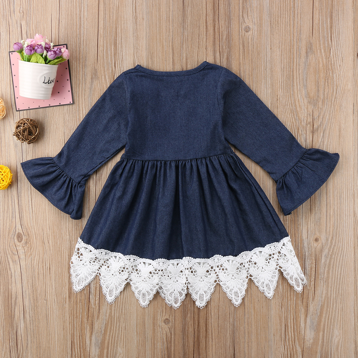 a3fe28b482 Cute Kids Newborn Toddler Baby Girls Jeans Denim Ruffles Lace Tutu Dress  Vestidos Clothes Wedding Princess Pageant Party Dresses