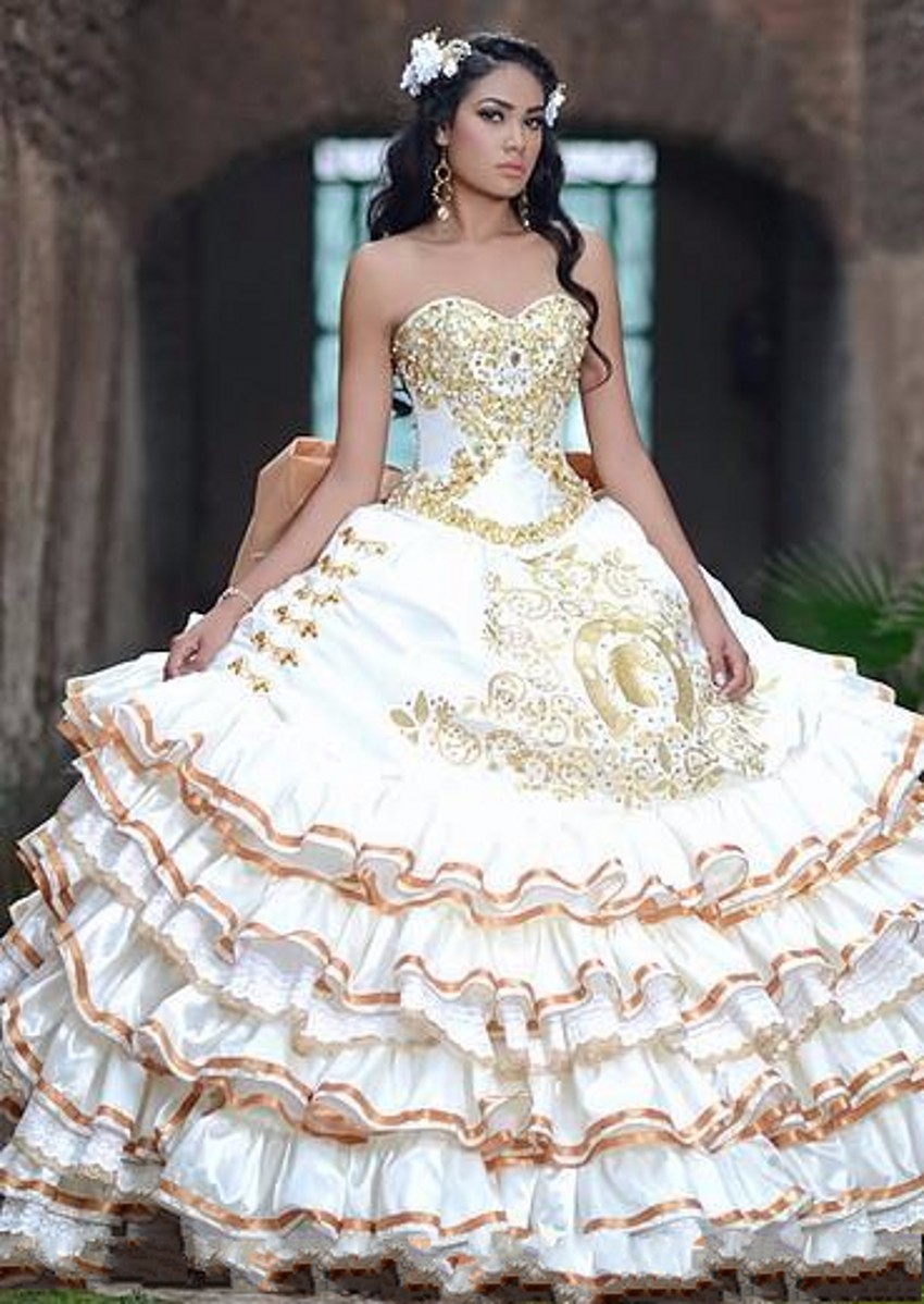 1eac2b26e58 Gold White Ball Gown Sweetheart Satin Quinceanera Dresses Sleeveless ...