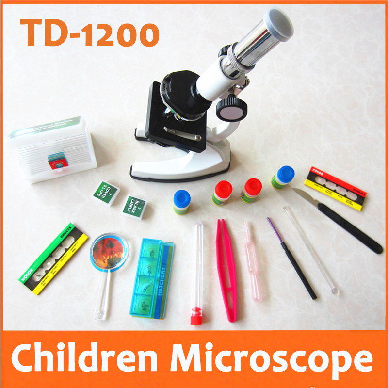 1200X Metal Birthday Metal Christmas Gift  Educational Illuminated LED Children Biological Student Toy Microscope with Lamp 10x 20x zoom eyepiece magnification 1200x illuminated child metal student monocular toy microscope with specimen for children
