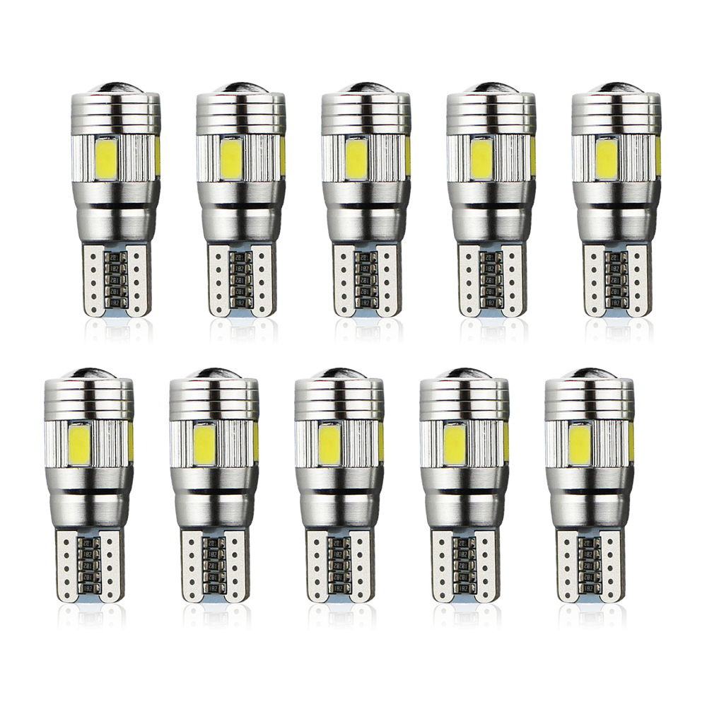 10pcs Super Quality 6LED SMD 5630 Error Free 194 168 W5W Universal parking Car LED T10 LED CANBUS T10 LED CANBUS Car Side Light 4x canbus error free t10 194 168 w5w 5050 led 6 smd white side wedge light bulb
