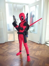 Cool KIds Deadpool Costume Red full body spandex Boy Cosplay Costumes Two style deadpool costume wholesale For Kids