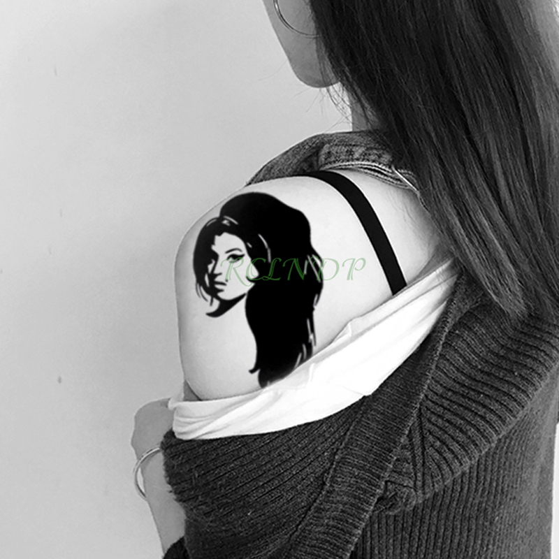 Waterproof Temporary Tattoo Sticker Amy Winehouse Fake Tatto Sexy Girl Flash Tatoo Shoulder Wrist Belly Foot For Lady Men Women