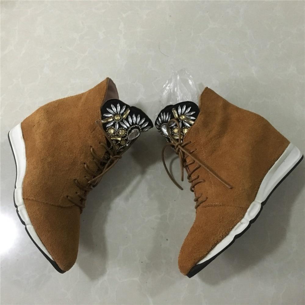 Venta Par Botines Para Cortos Cuero Toe Señaló 1 De Brown Zapatos La Rhinestone Cuña up Gamuza Lace Sólo Mujeres Ocio Genuino qfzBHg
