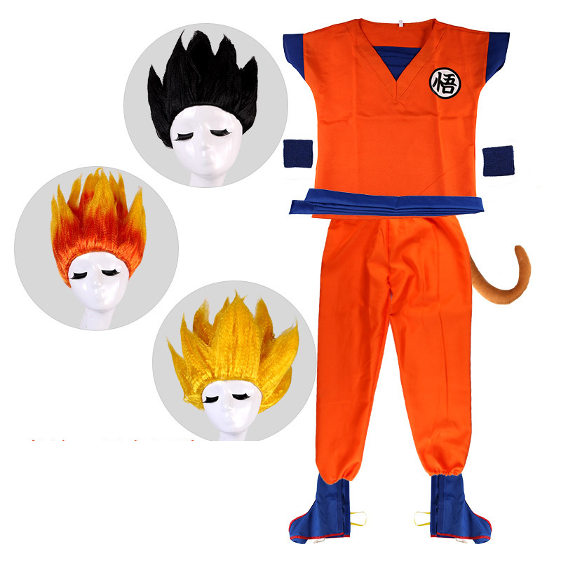 Anime Dragon Ball Z Outfit Suits Clothes Son Goku Cosplay Costume Top Pants Belt Tail Wrister Wig For Adult Kids Holiday Gifts