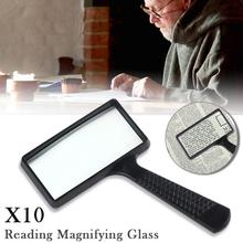 10X Handheld Magnifier Large Rectangular Magnifying Glass Loupe for Reading Newspaper Use
