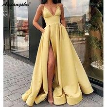 Bretelles Spaghetti robe de soirée jaune Satin col en v Sexy robe de bal avec poches grande taille robes de bal 2019 Long vestido fiesta