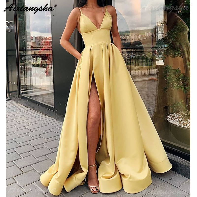 Spaghetti Straps Yellow Party Gown Satin V-Neck Sexy Prom Dress With Pockets Plus Size Prom Dresses 2019 Long Vestido Fiesta