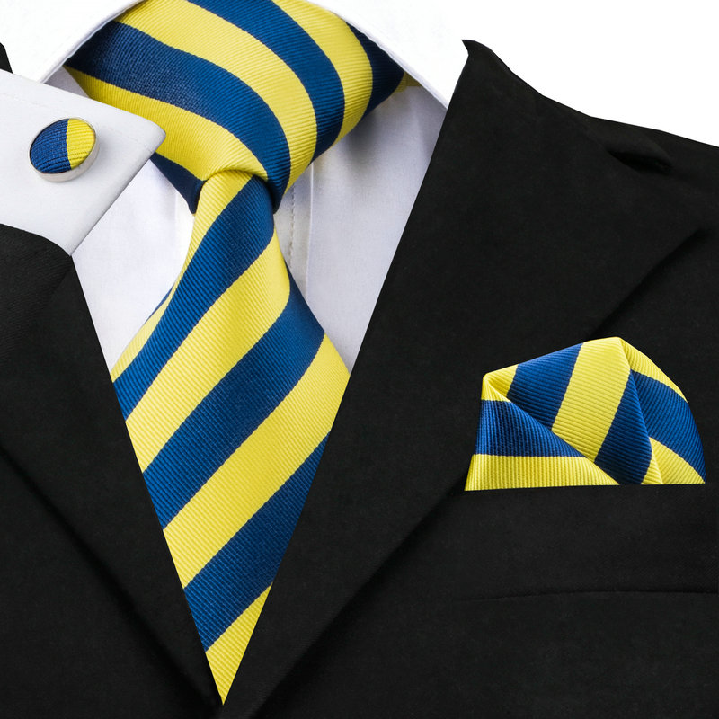 Hi-Tie Men Silk Tie Blue Neck Tie Set 8.5cm Striped Yellow Tie Pocket Square Cufflinks Formal Ties For Wedding Suit Wholesale
