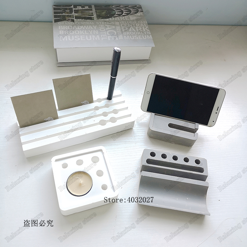 Pen Container Holder Concrete Molds Phone Bracket Cement Clay Mold Desk Decor Candlestick Plaster Craft Silicone Mould