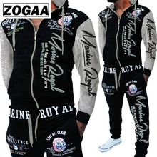 ZOGAA Men Track Suits Hooded Jacket Sweatsuit Sports New Sportswear Mens Jogger Sets Printed Tracksuit Clothes