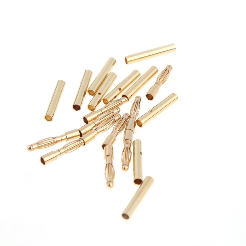 New Arrival 10 Pairs 2.0mm Copper Bullet Banana Plug Connectors Male + Female for RC Motor ESC Battery Part Battery Part 10 pairs female male xt90 banana bullet connector plug for rc lipo battery b