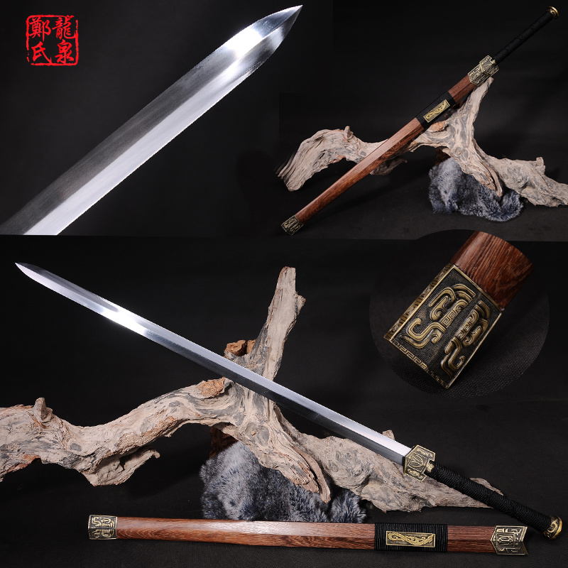 Chinese Sword Double Edges Blade Real Steel Antique Bronze Fittings Rose Wood Sheath Home Fungshui Ornaments/ Decoration