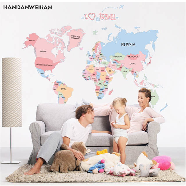 World map decorative painting stickers diy removable stickers living world map decorative painting stickers diy removable stickers living room office decoration sticker gumiabroncs Choice Image