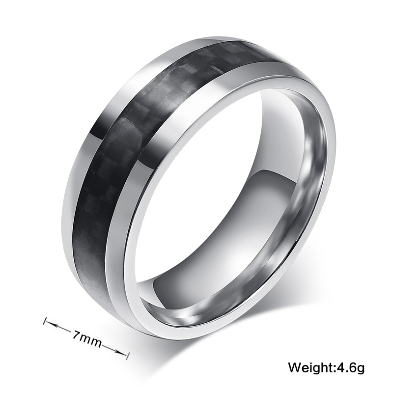 Vnox fashion men ring carbon fiber jewelry stainless steel rings ...