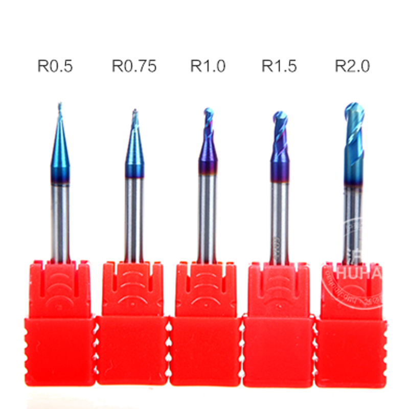 5PCS 2 Flutes HRC63 R0.5,0.75,1.0.1.5,2.0 Naco Coat Tungsten steel solid carbide BALL NOSE end mill for CNC milling machine