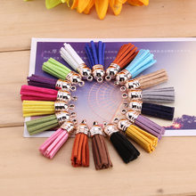 10pcs/lot Many Colors Mixed Suede Tassel for Keychain Leather Tassels Gold Caps Straps DIY Jewelry Making Charms Pendants 38mm(China)