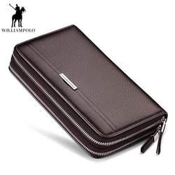 WILLIAMPOLO Lederen Vintage Solid Clutch Bag Telefoon en Kaart Merk Heren Portemonnee Dubbele Rits Echt Leer Handy Portemonnee pl163