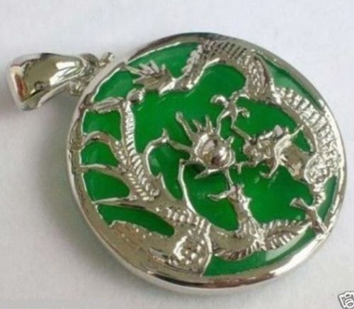 Jew3108 Green JADE Silvered Dragon Phoenix Pendant And Necklace