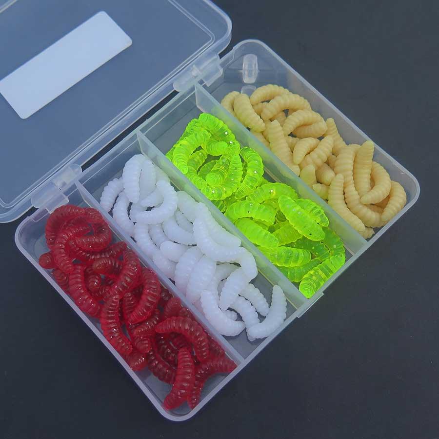 100 pcs box soft fishing lures worm lure worm bait size. Black Bedroom Furniture Sets. Home Design Ideas