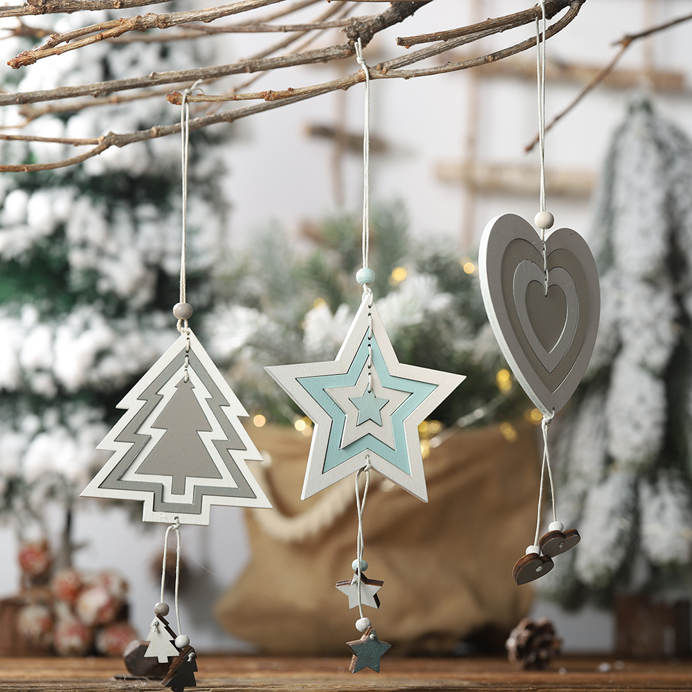 44 Types Christmas Tree Decoration Ornament Santa Clause Elk Star Wooden Hanging Pendant Xmas Christmas Party Decor for Home 32
