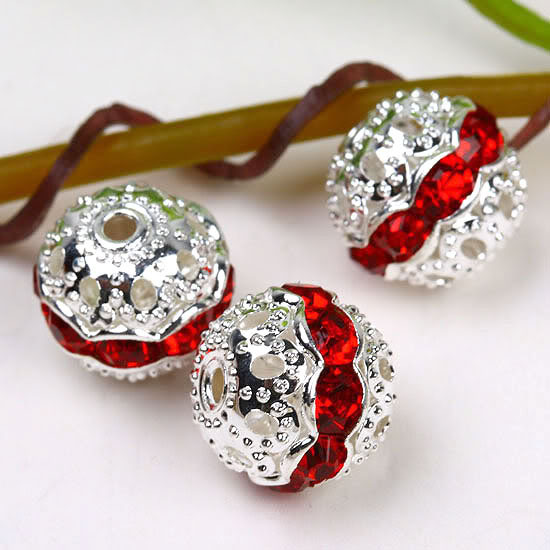free shipping silver metal Ball beads 8mm Red crystal rhinestone silver  spacer beads fitting  83f635932d48