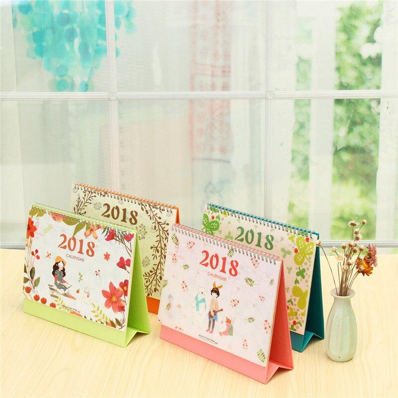 2018 Desktop Calendar Blue Green Pink Orange Paperboard+Cardboard Base+PVC Triangle Base Decorate Dual Metal Coils Calendar