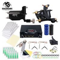Top Free Ship Complete Tattoo Kit Rotary Tattoo Machine Coils Machine Hot Sales Dragonhawk Power Supply Colors USA Ink Set