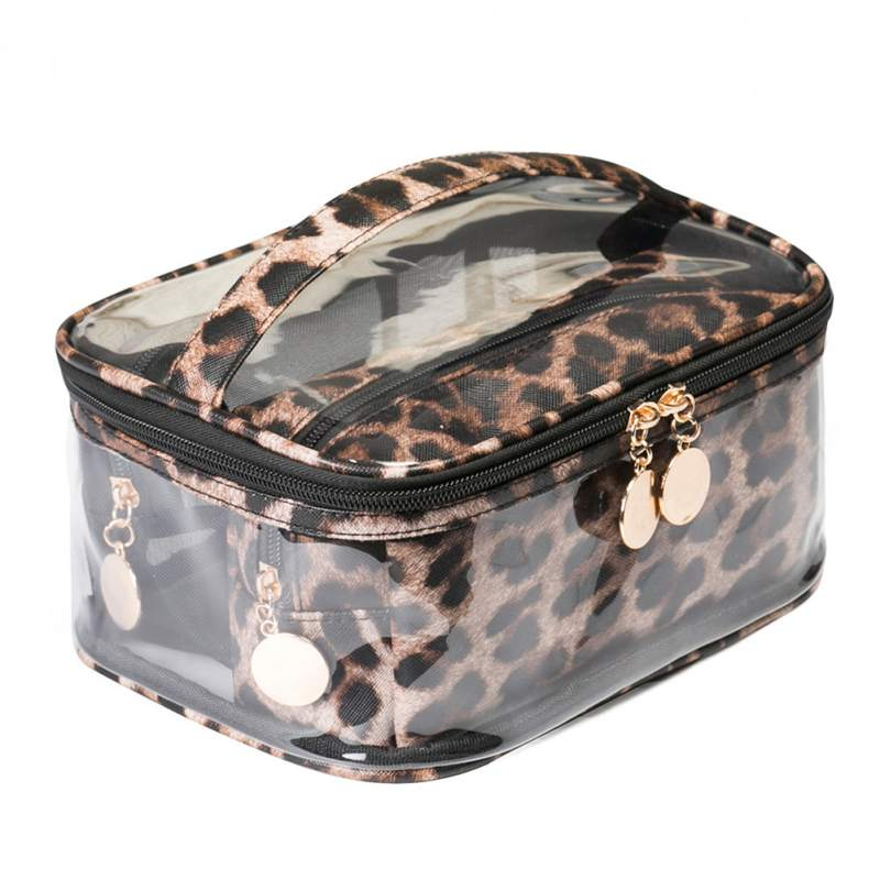 Ladies Leopard Transparent Cosmetic Bag Travel Waterproof Clear Wash Organizer Pouch Beauty Makeup Case Accessories Supplies