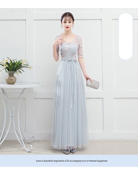 Blue Grey Colour Bridesmaid Dress  Long Dresses For Wedding Party  Special Occasion Dresses  V-neck