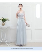 Blue Grey Colour Bridesmaid Dress  Long Dresses for Wedding Party  Special Occasion Dresses  V-neck v neck red bean pink colour above knee mini dress satin dress women wedding party bridesmaid dress back of bandage