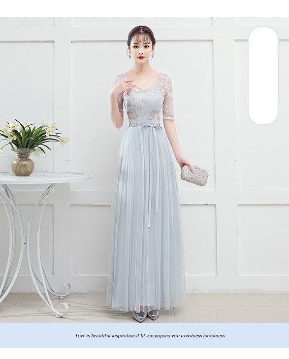 Blue Grey Colour   Bridesmaid     Dress   Long   Dresses   for Wedding Party Special Occasion   Dresses   V-neck