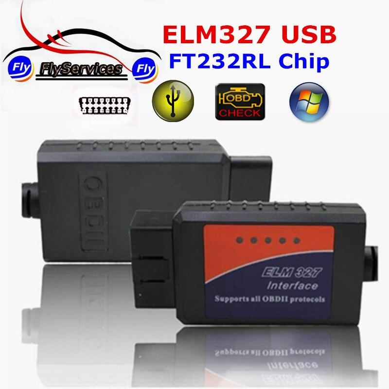 Новое поступление OBD2 USB ELM327 с импортными FT232RL чип ELM 327 USB Интерфейс авто-код читателя OBD сканер для мульти -автомобилей марки