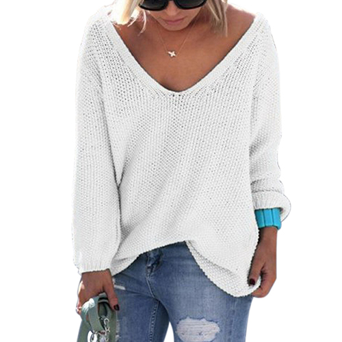 Women s Autumn Winter Casual Loose V Neck Long Sleeve Knitted Pullover Sweater