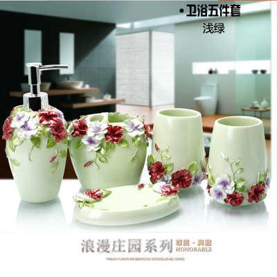 Piękna perła kwiatowy 5 sztuk akcesoria łazienkowe z żywicy zestaw dozownik mydła w płynie/uchwyt szczoteczki do zębów/Tumbler/mydelniczka złoty