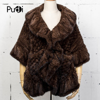 Pudi CK716 The new lady fur shawl coat of real mink fur fur coat is comfortable and warm ponchos and capes