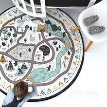 Детский реквизит для фотосессии, одеяло, напольный игровой коврик, круглый ковер с животными, детский игровой коврик для ползания, кружка диаметром 53 дюйма, черный и белый