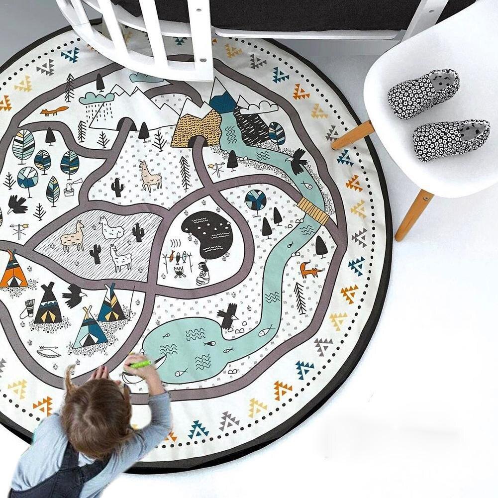 Bébé soins infirmiers Photo accessoires couverture sol tapis de jeu Animal tapis rond enfants ramper tapis de jeu tasse diamètre 53 noir et blanc