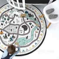 Baby Nursing Photo Props Blanket Floor Playmat Animal Round Carpet Children's Crawling Play Mat Mug Diameter 53'' Black&White